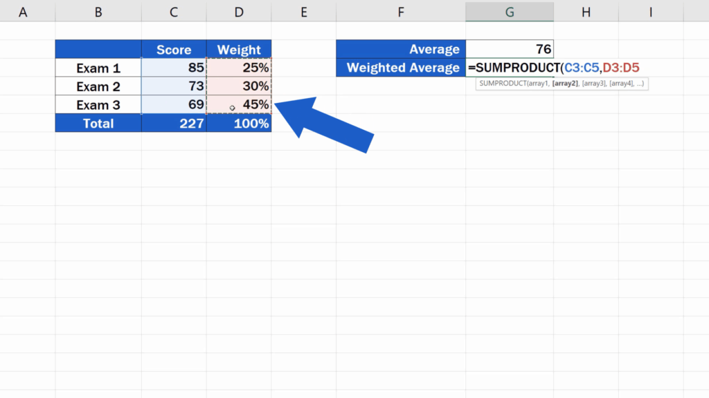 How to Calculate the Weighted Average in Excel - weight percent