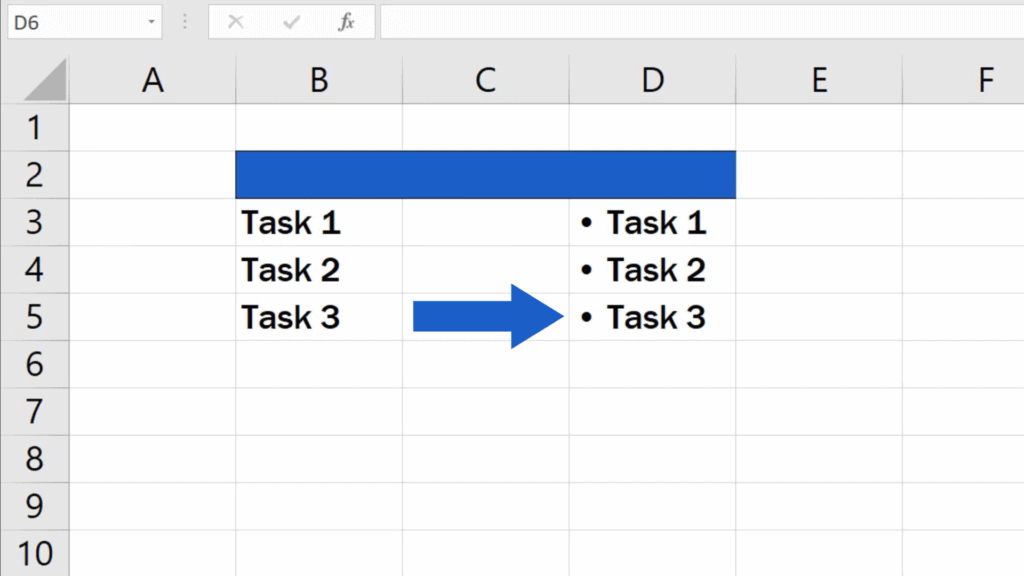 How to Insert Bullet Points in Excel - Excel inserts the bullet point