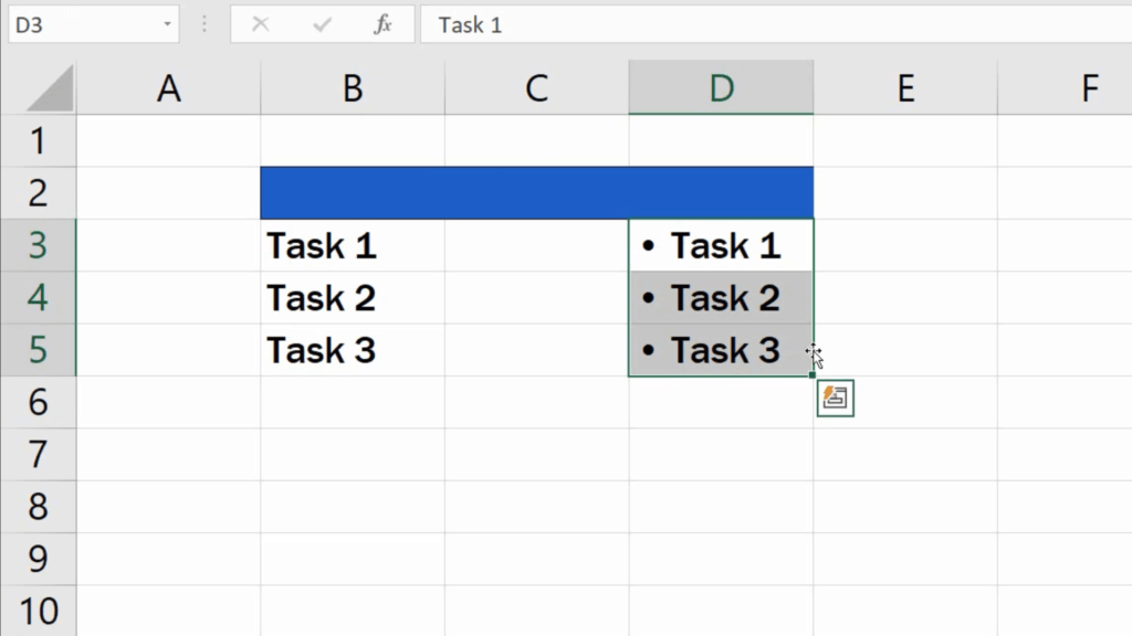 How to Insert Bullet Points in Excel - select the cells where we want to make changes