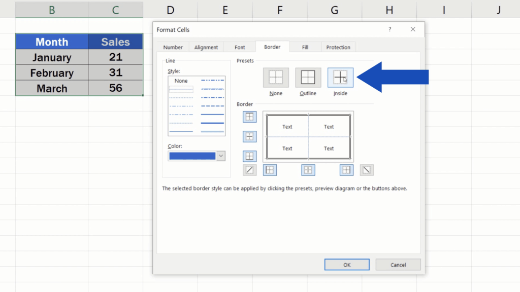 How to Make Borders in Excel - The button 'Inside'