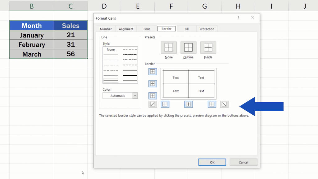 How to Make Borders in Excel - choose astyle