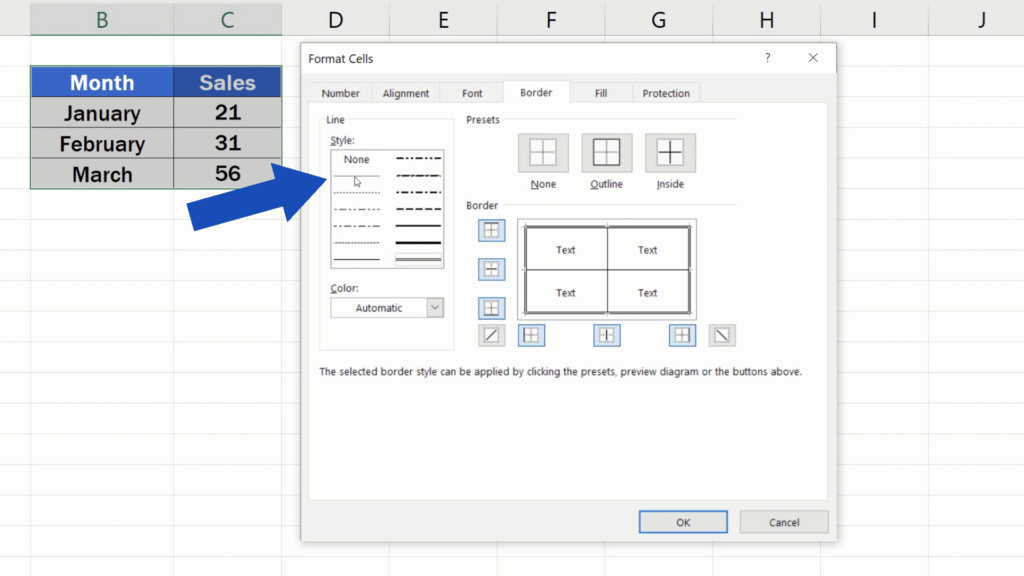 How to Make Borders in Excel - dotted line style inside the table
