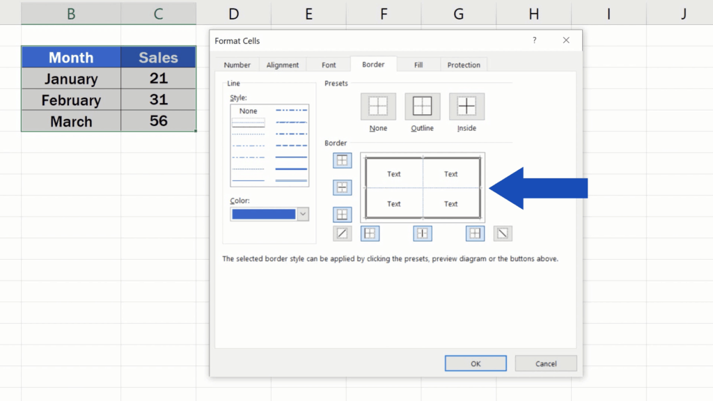 How to Make Borders in Excel - inside lines