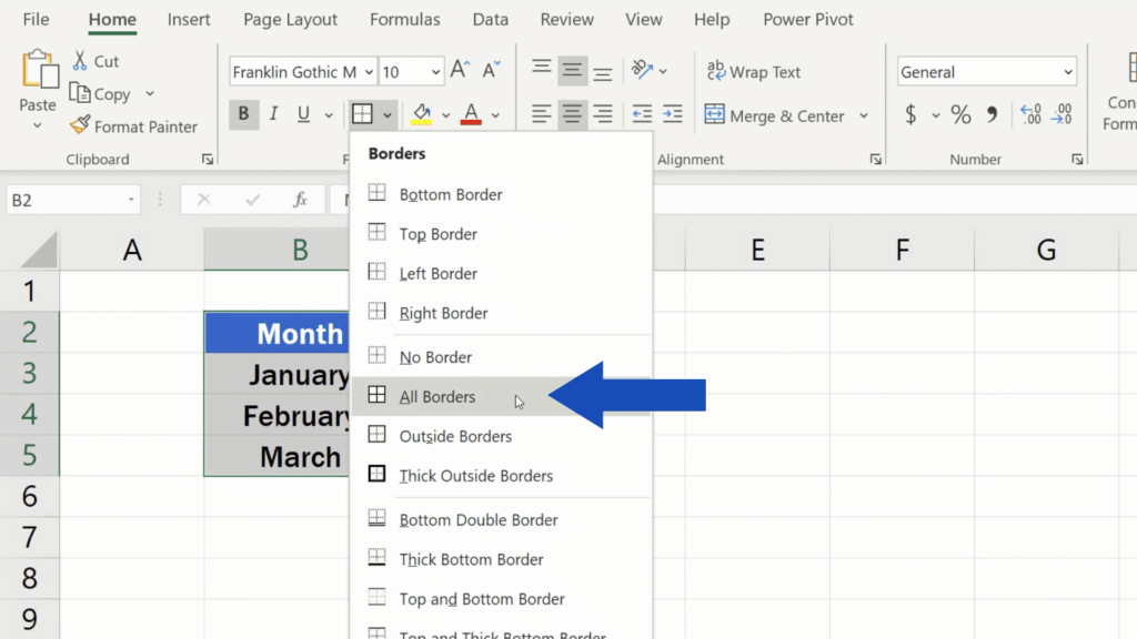 How to Make Borders in Excel - option all borders