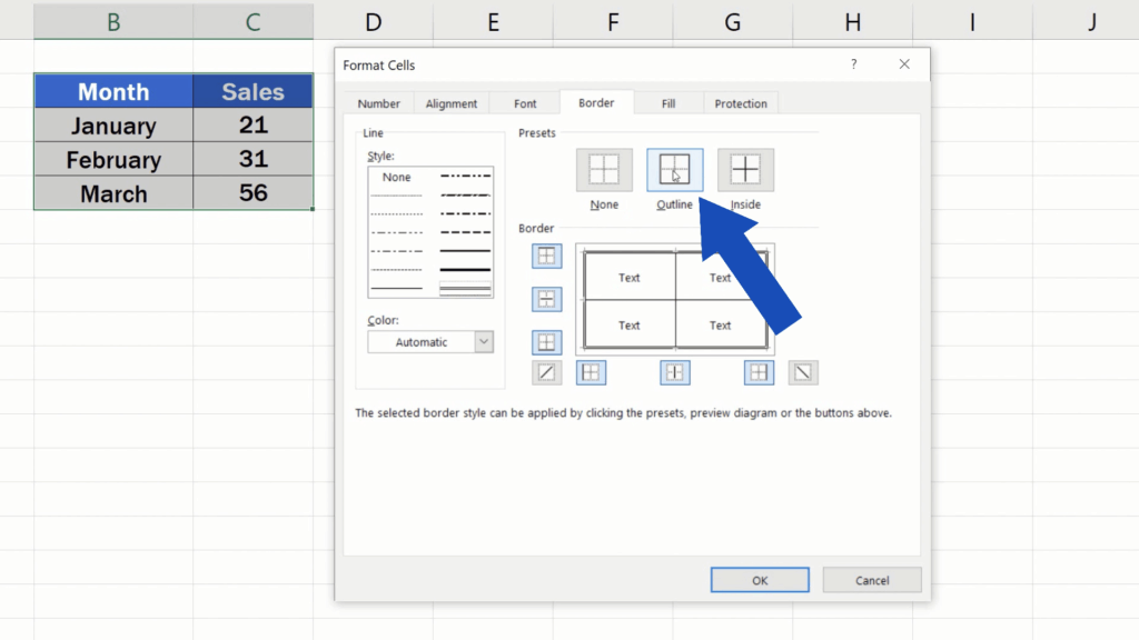 How to Make Borders in Excel - outline