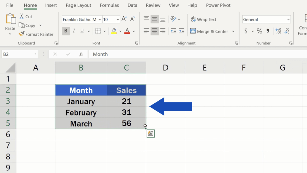 How to Make Borders in Excel - relevant table area