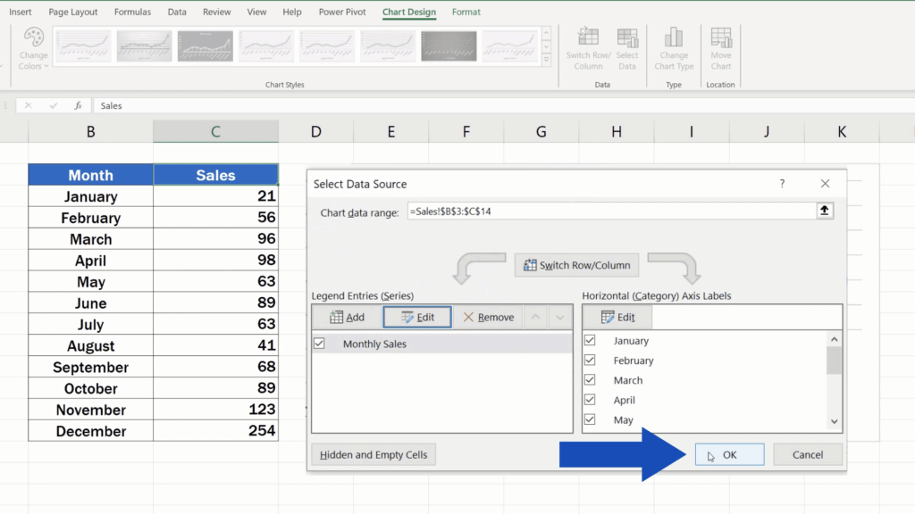 How to Rename aLegend in an Excel Chart - click on OK