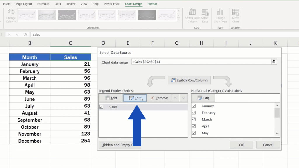 How to Rename aLegend in an Excel Chart - option edit