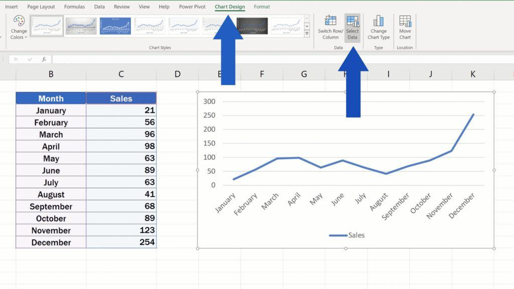 How to Rename aLegend in an Excel Chart - second way