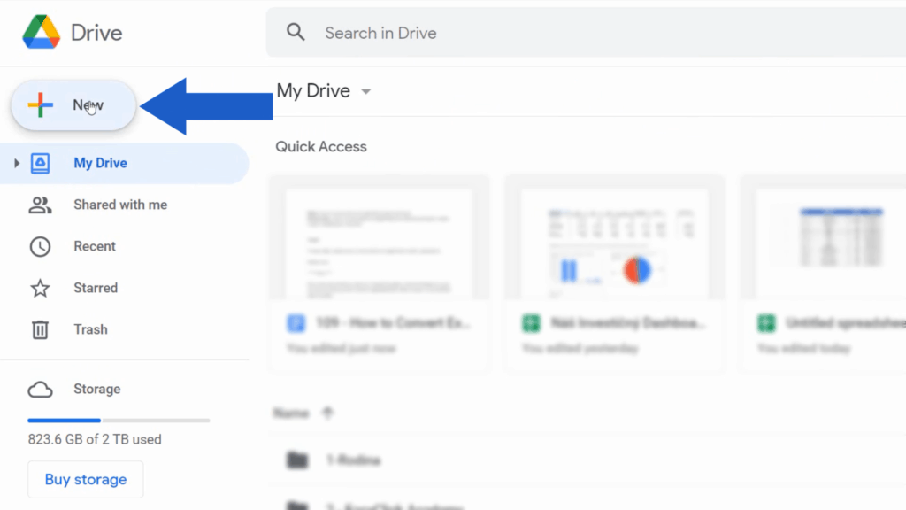 How to Convert Excel to Google Sheets - Open Google Drive