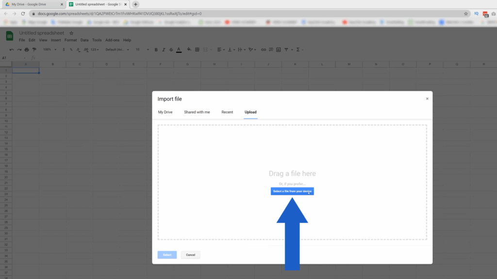 How to Convert Excel to Google Sheets - upload