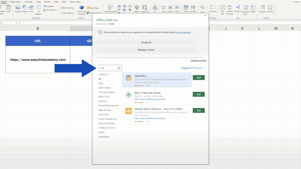 How to Create aQR Code in Excel -  'QR4Office' add in
