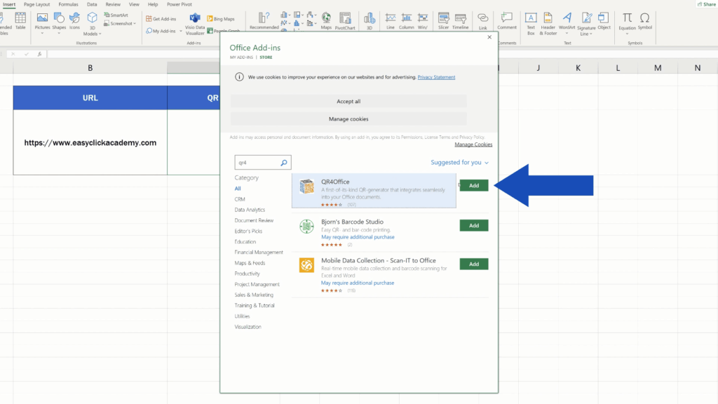 How to Create aQR Code in Excel -  'QR4Office' add in - add