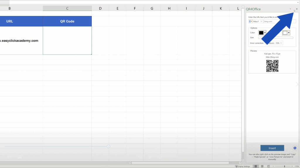 How to Create aQR Code in Excel -  Close the pane