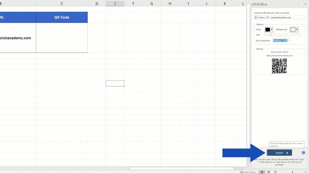 How to Create aQR Code in Excel -  Insert QR Code