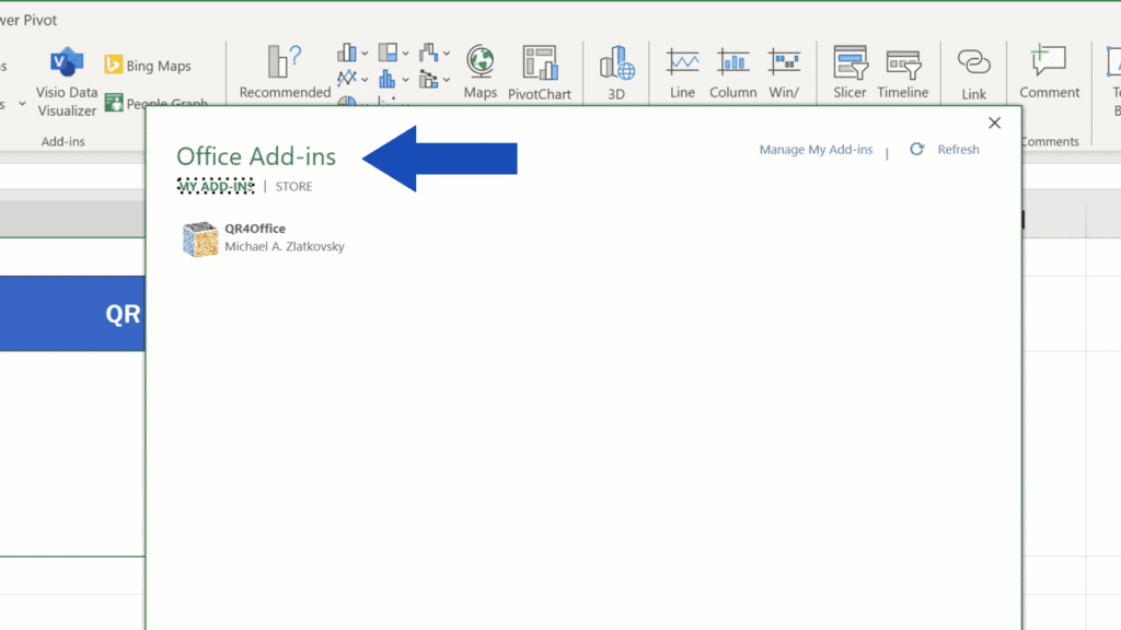 How to Create aQR Code in Excel -  List of Add-ins