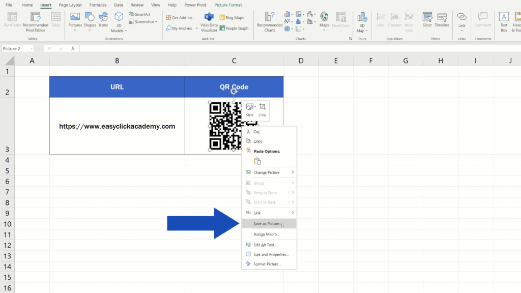 How to Create aQR Code in Excel -  QR Code - save as picture