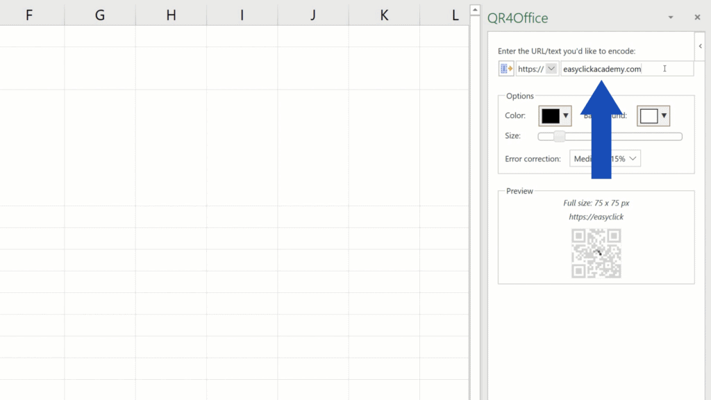 How to Create aQR Code in Excel -  URL of easyclickacademy