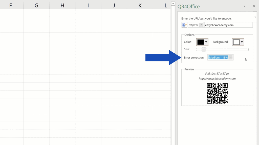 How to Create aQR Code in Excel -  error correction