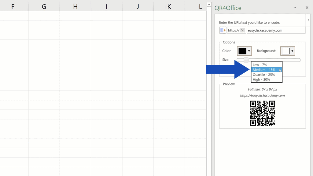 How to Create aQR Code in Excel -  error correction - 4 options