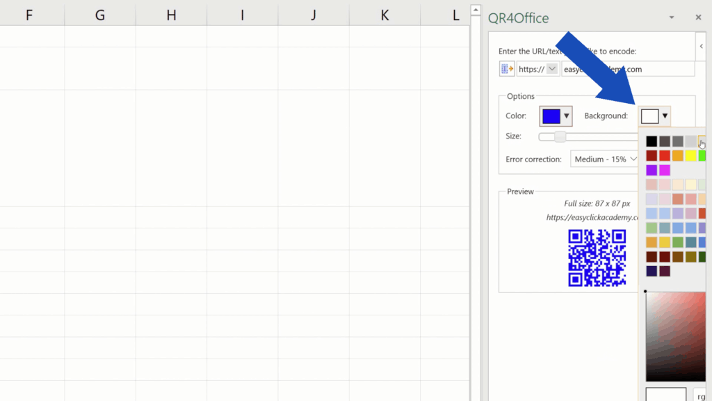 How to Create aQR Code in Excel -  pick abackground color of QR Code