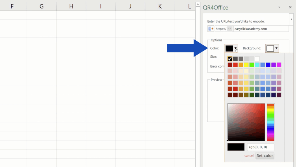 How to Create aQR Code in Excel -  pick acolor of QR Code