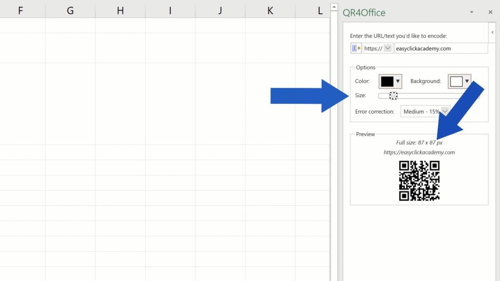 How to Create aQR Code in Excel - size of QR Code