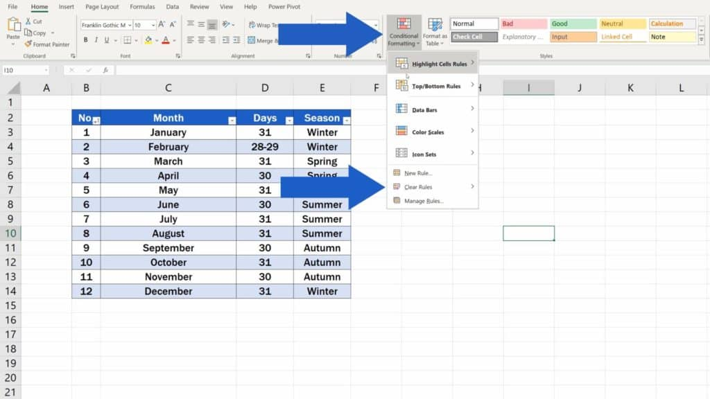 How to Highlight Every Other Row in Excel - clear rule