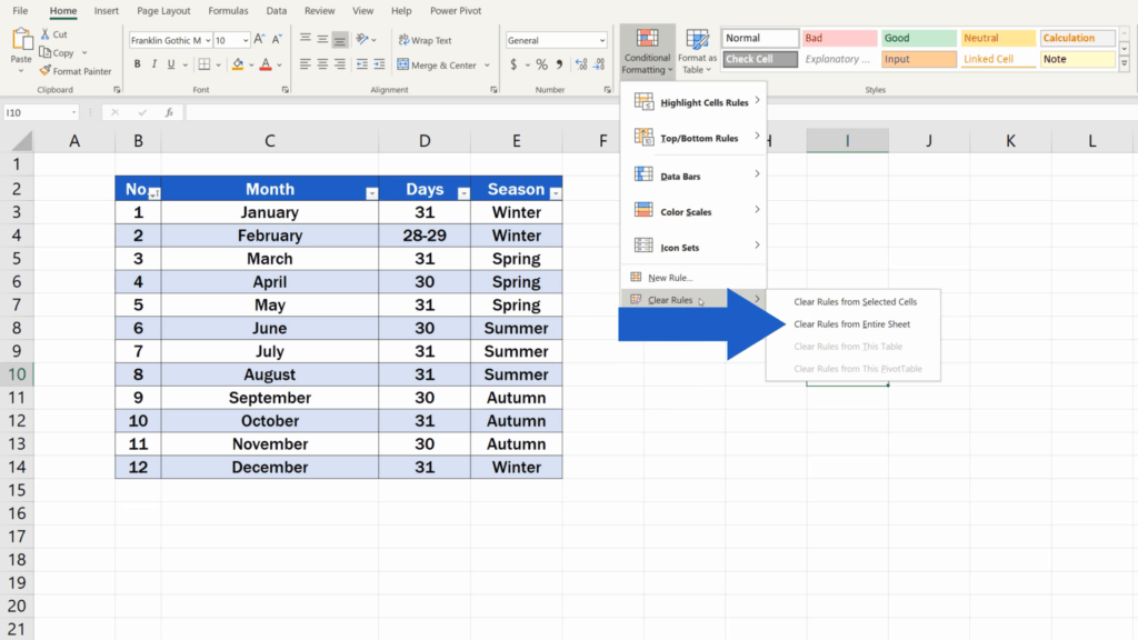 How to Highlight Every Other Row in Excel - clear rules from entire sheet