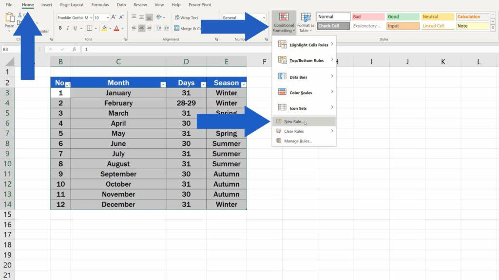How to Highlight Every Other Row in Excel - conditional formatting - option new rule