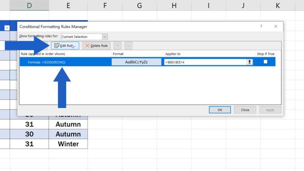 How to Highlight Every Other Row in Excel - edit rule