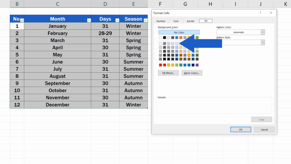 How to Highlight Every Other Row in Excel - fill - light blue