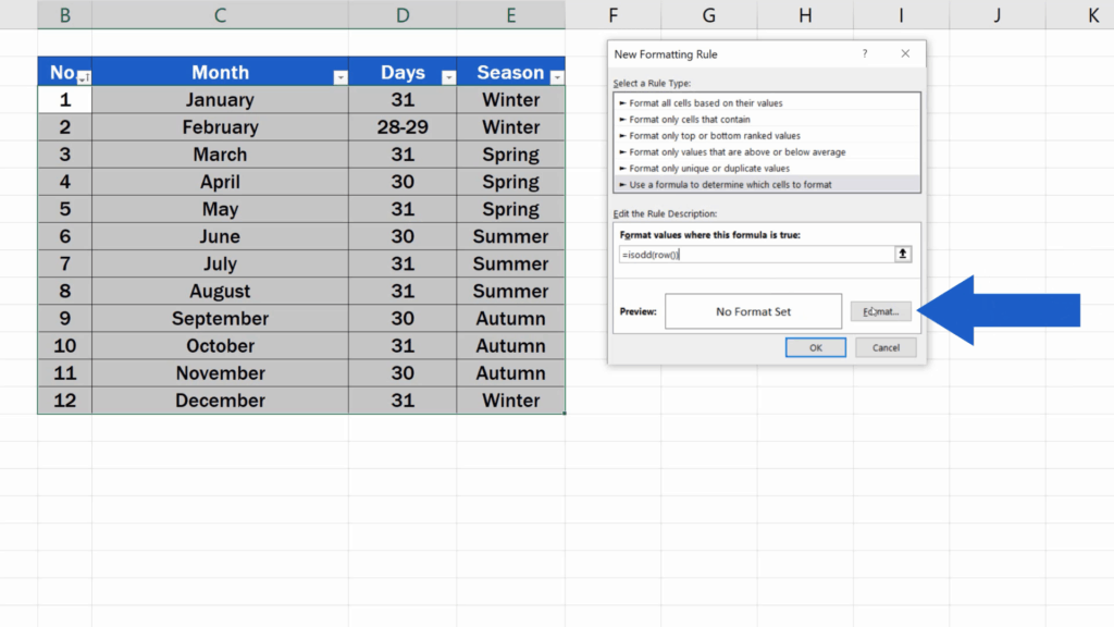 How to Highlight Every Other Row in Excel - format