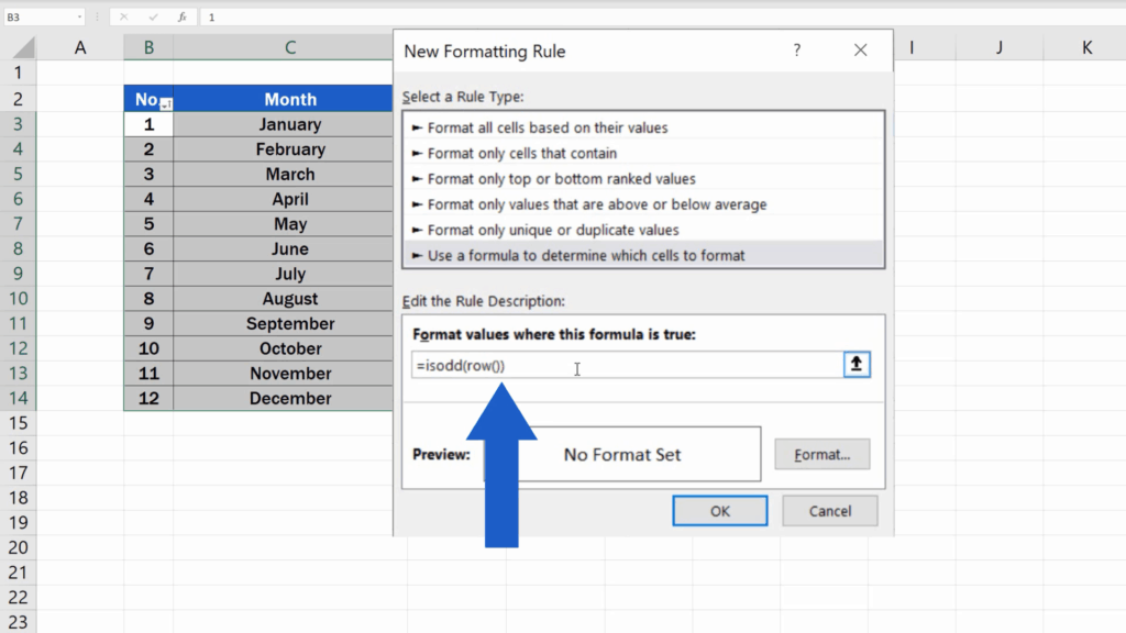 How to Highlight Every Other Row in Excel - the formula 'ISODD'