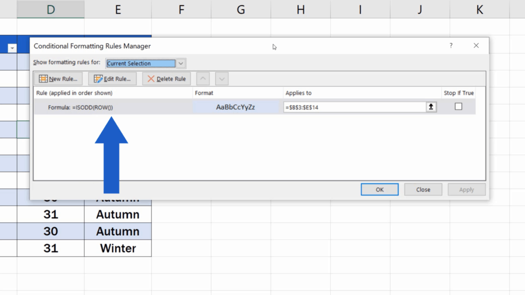 How to Highlight Every Other Row in Excel - the rule to highlight every odd row