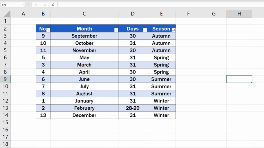 How to Highlight Every Other Row in Excel - use the filter to reorganise the data