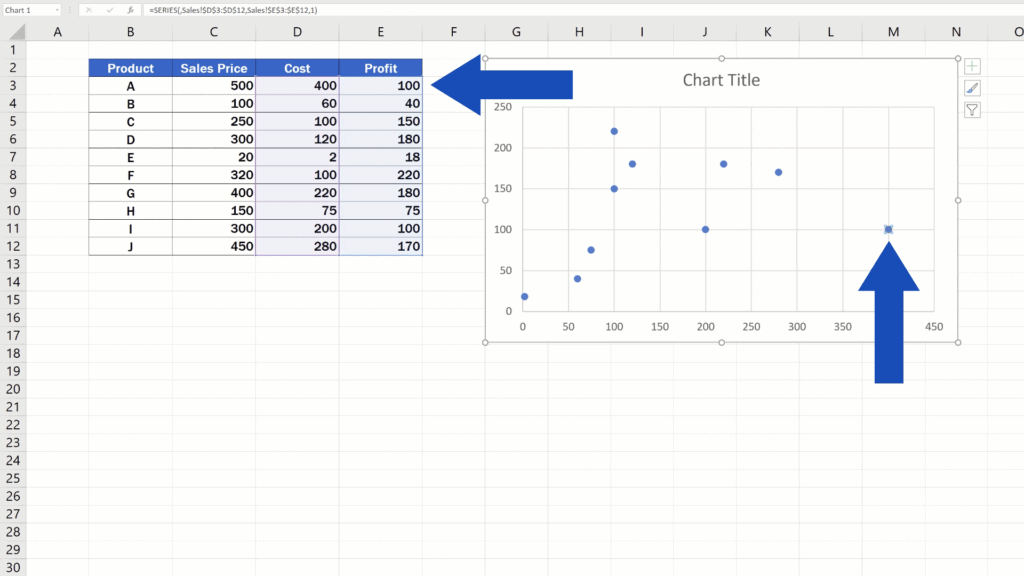 How to Make aScatter Plot in Excel - The dots
