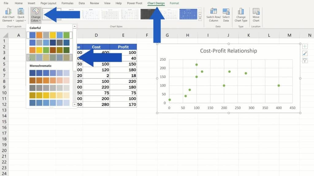 How to Make aScatter Plot in Excel - change the chart color