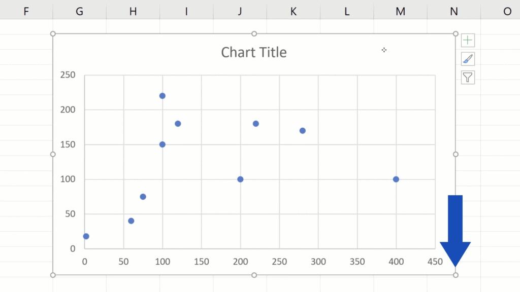 How to Make aScatter Plot in Excel - change the size