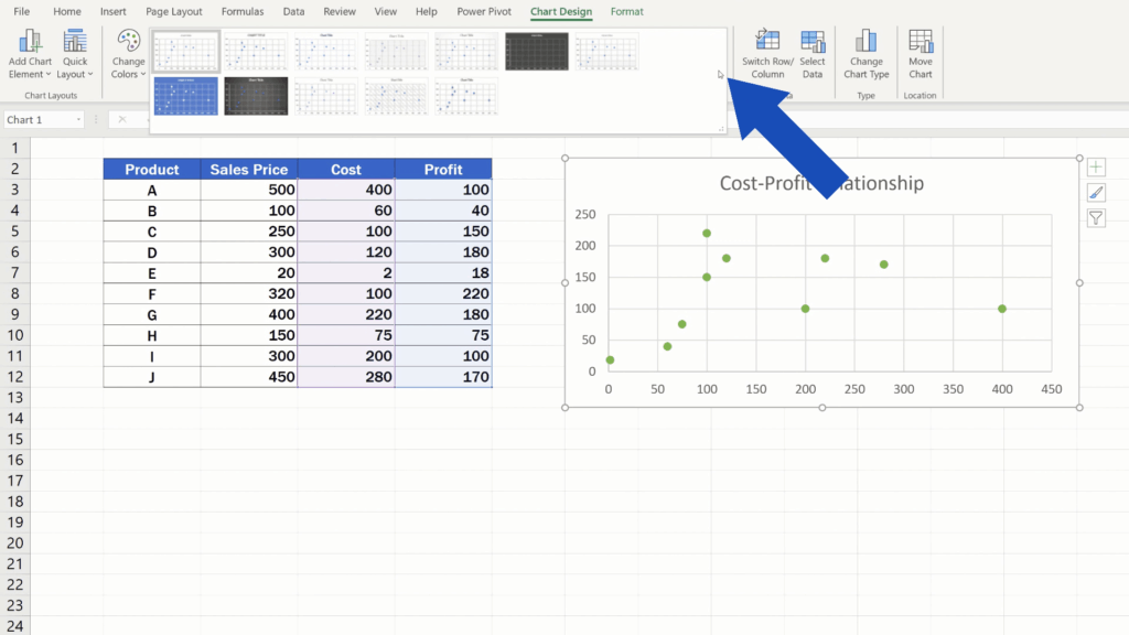 How to Make aScatter Plot in Excel - chart styles