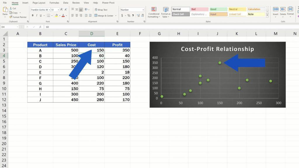 How to Make aScatter Plot in Excel - rewrite the values
