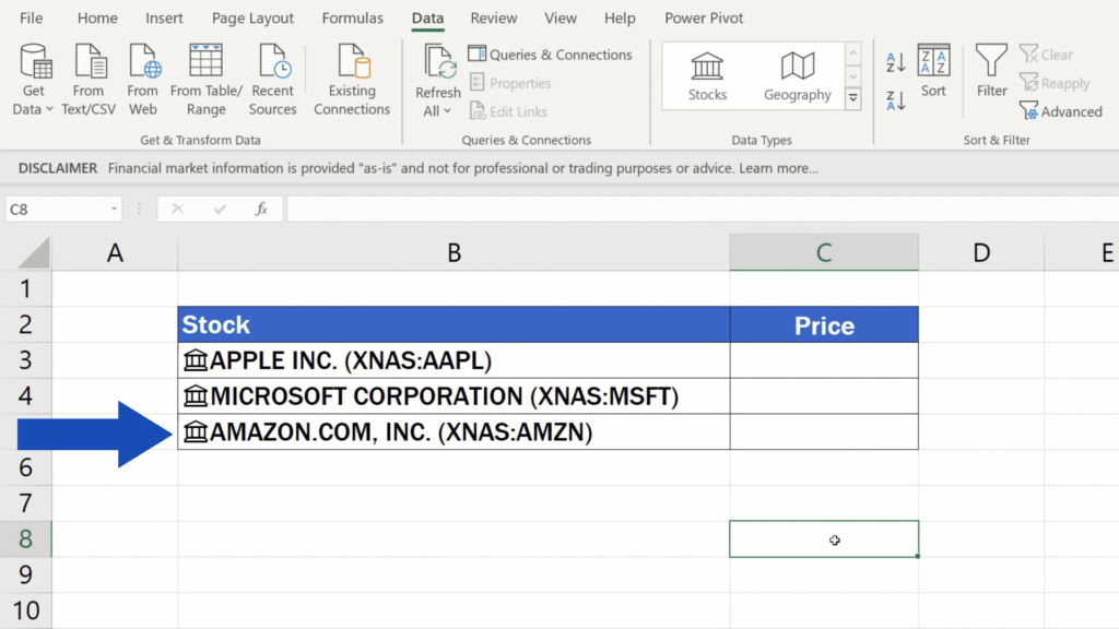 How to Get Stock Prices in Excel - Tickers get converted to aspecial data type
