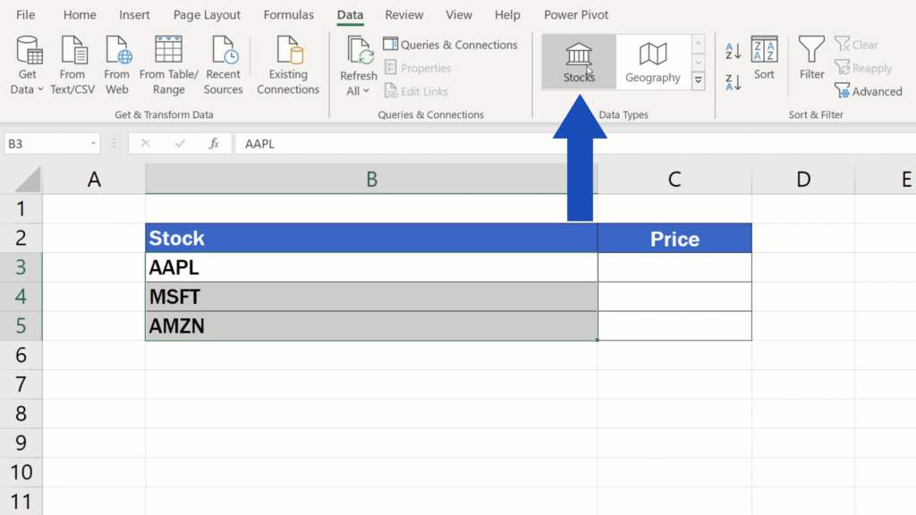 How to Get Stock Prices in Excel - click on Stocks in the Data tab