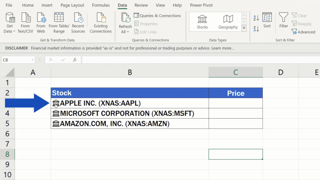How to Get Stock Prices in Excel - click on the Stocks icon