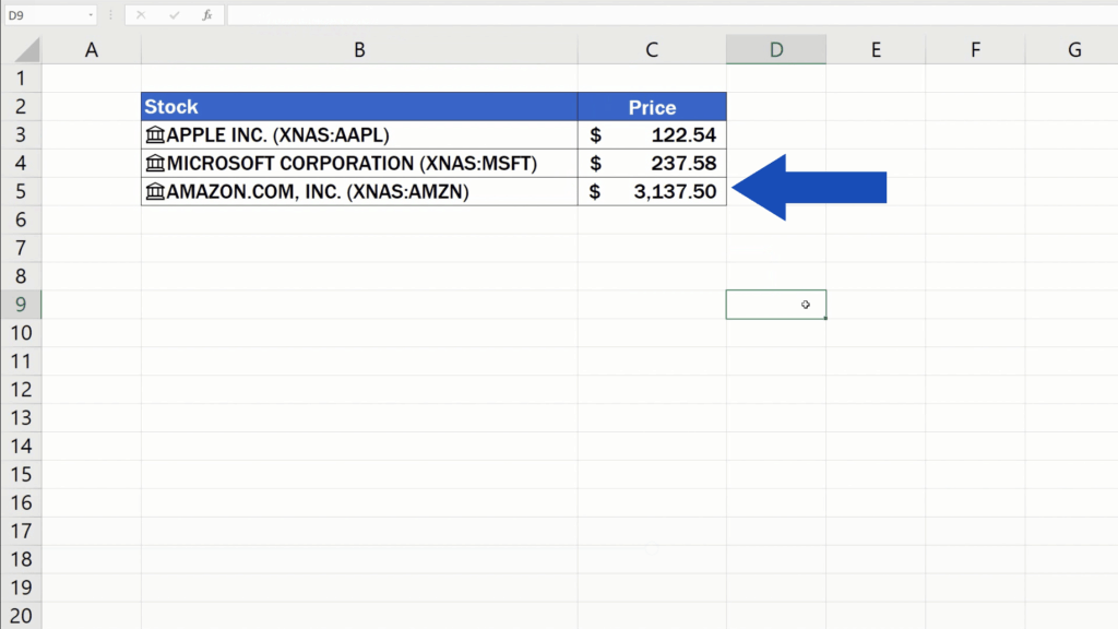 How to Get Stock Prices in Excel - current price for each stock now appears