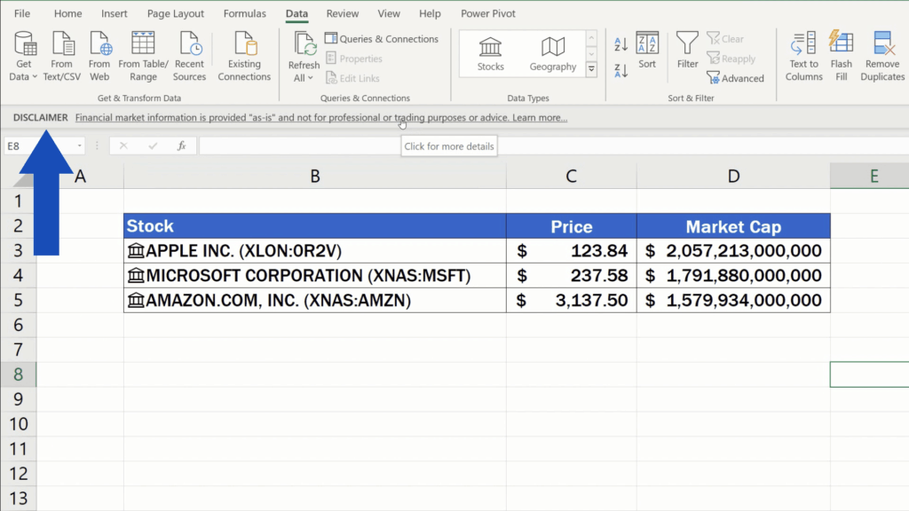 How to Get Stock Prices in Excel - disclaimer