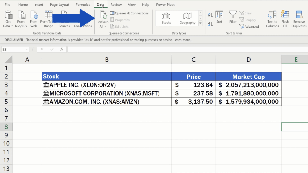 How to Get Stock Prices in Excel - get latest information from stock exchange