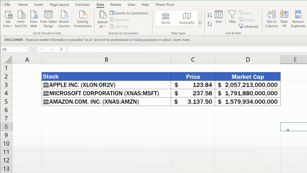 How to Get Stock Prices in Excel - latest information