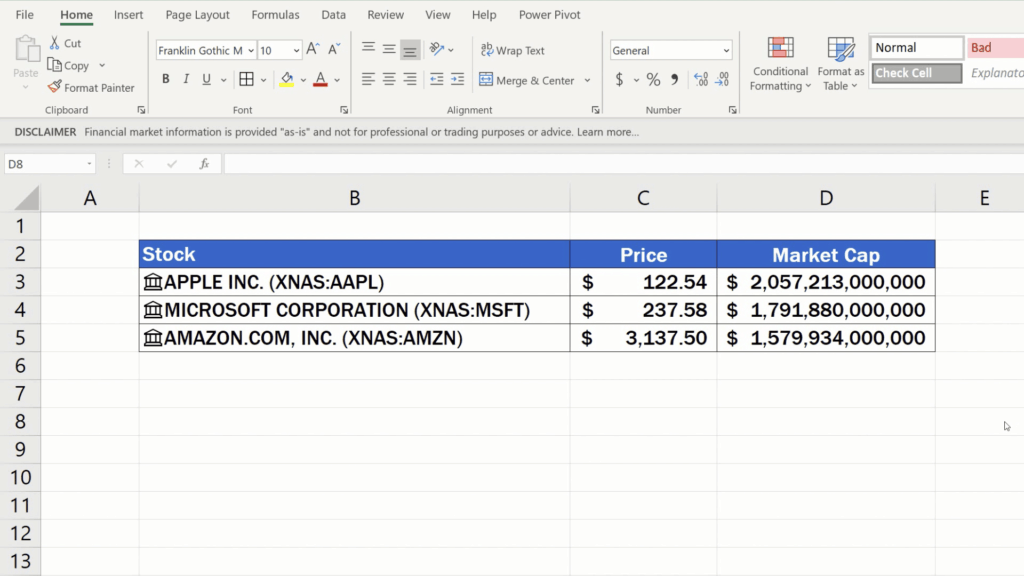 How to Get Stock Prices in Excel - market cup - formatting