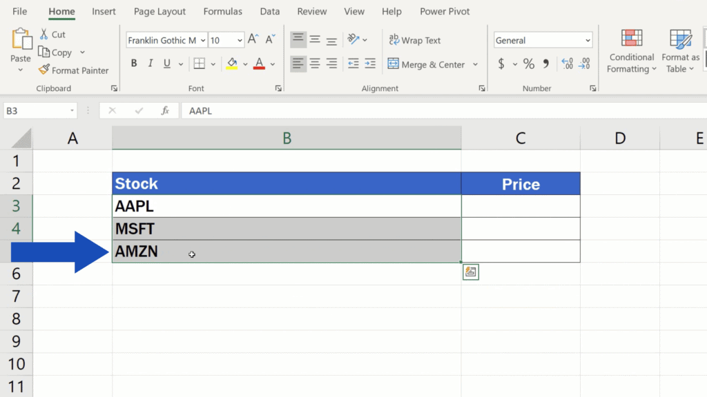 How to Get Stock Prices in Excel - select the area that contains this information